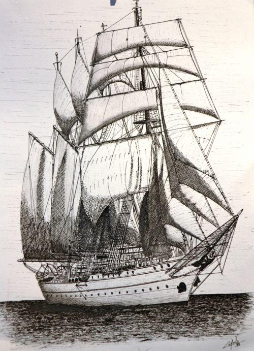 Vieux gréements ( un de mes vieux dessins à l'encre de chine)