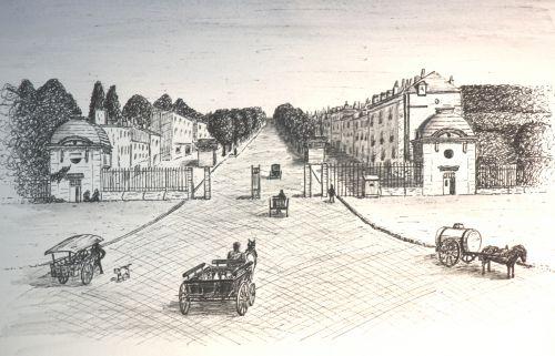 Avenue de la Tranchée à Tours du temps de l'octroi ou il fallait payer pour rentrer dans la ville (vieux dessin)