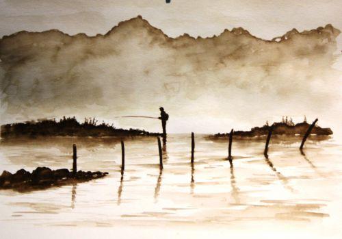 Pêcheur dans la brume