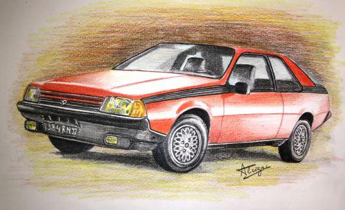 La Renault Fuego - La belle époque ! Crayons de couleurs ordinaires