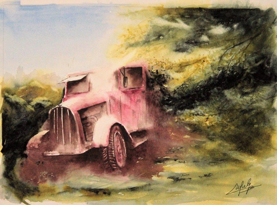 Le vieux camion de pompier