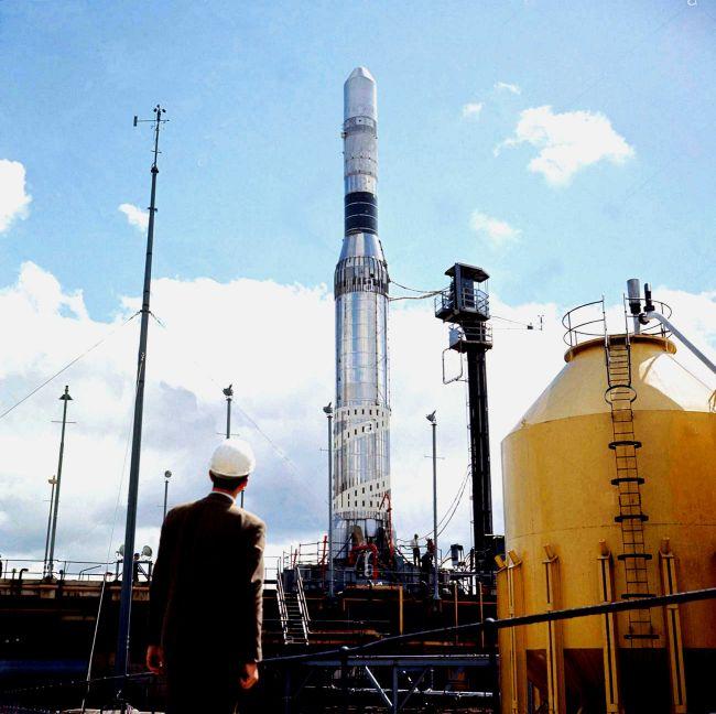 essai statique de la fusée europa F4 le 3 août 1965 à Spadeadam en Angleterre