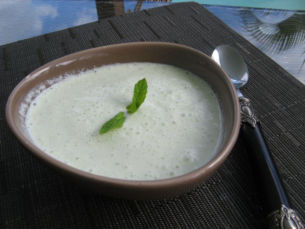 Velout glac de concombre la menthe patio 39 nnement cuisine - Frigo qui fait de la glace ...