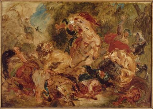 Eugène Delacroix (1798-1863) -- Chasse aux lions (equisse) - 1854.jpg