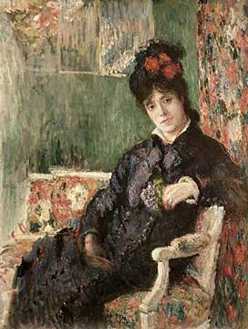 Camille Holding a Posy of Violets or Portrait by Claude Monet 1877.jpg