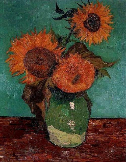 Vase avec trois tournesols (Arles août 1888). Collection privée États-Unis..jpg