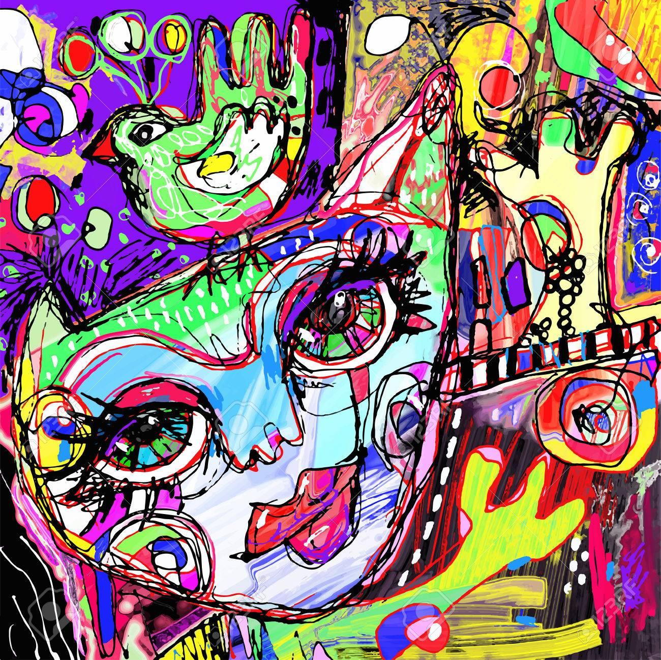 57190073-abstraite-numérique-oeuvre-de-la-peinture-contemporaine-du-chat-et-oiseau-sur-une-tête-l-art-doodle-i.jpg