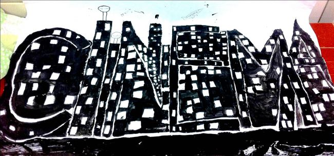 Skyline Nocturne des Villes-Mots - Classe de CM1-CM2