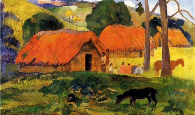 Paul Gauguin - Les trois huttes - Tahiti