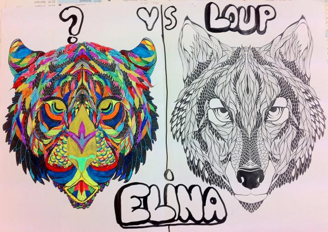 Coloriage - Loup - Elina (CM2)