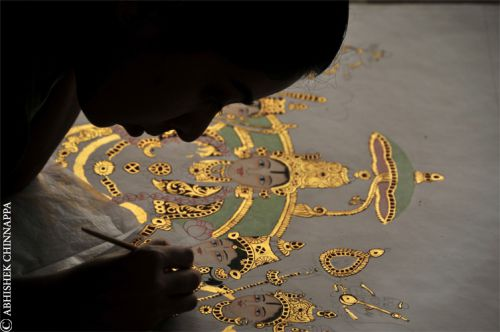 A student creates a Mysore painting depicting the coronation of Lord Rama - Madras