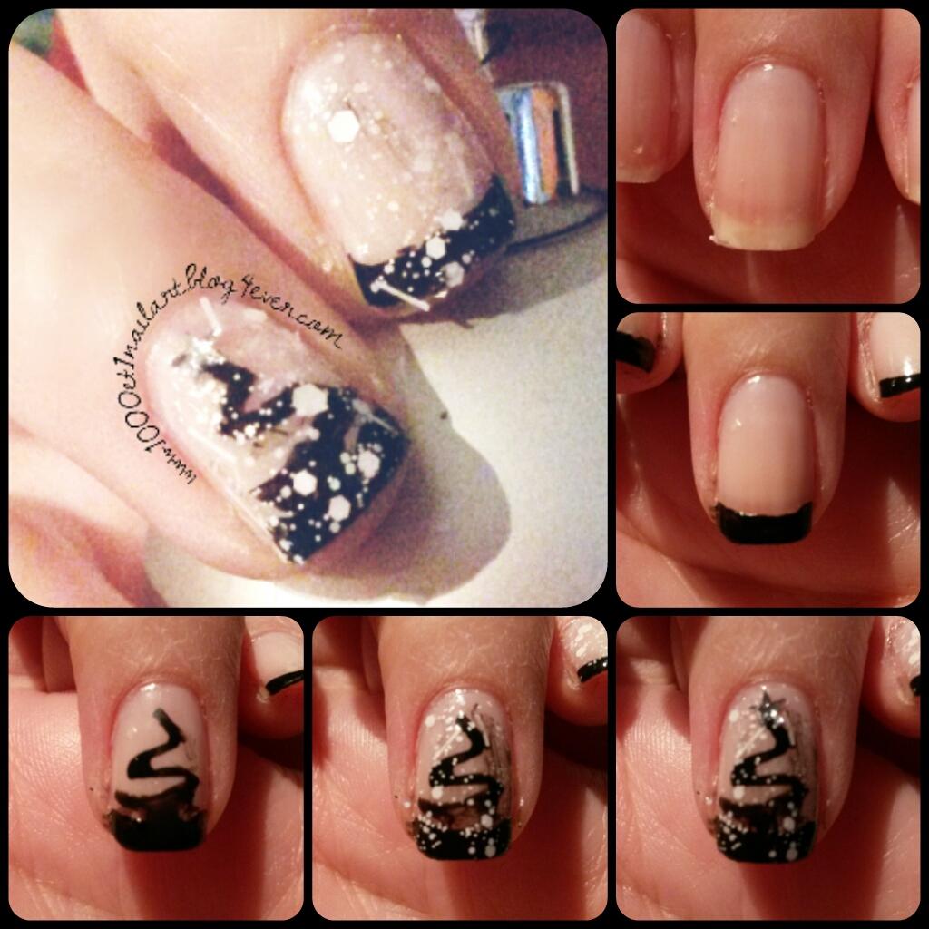 sapin stylis noir et blanc nail art et manucures faciles sur ongles courts. Black Bedroom Furniture Sets. Home Design Ideas