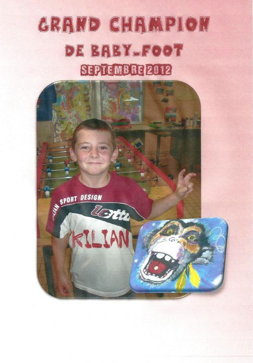 Kilian, champion de baby-foot-Septembre 2012