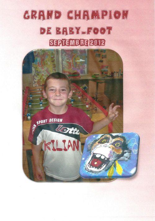 Kilian, champion de baby-foot-Septembre 2012
