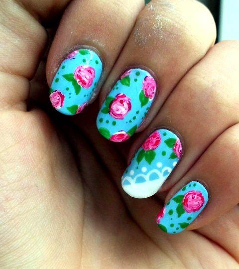 Nail-Art Roses Et Dentelle