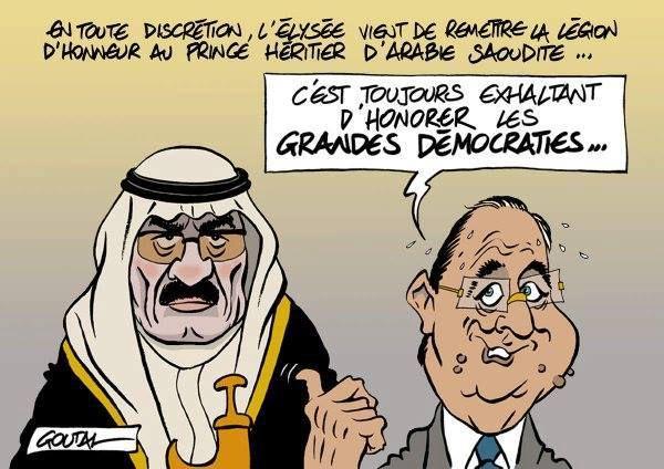 L'Arabie Saoudite, qui décapite à tours de bras, qui finance le terrorisme en Syrie et qui mène la guerre contre le peuple du Yémen, a été récompensée par François Hollande. Quel déshonneur pour notre pays...