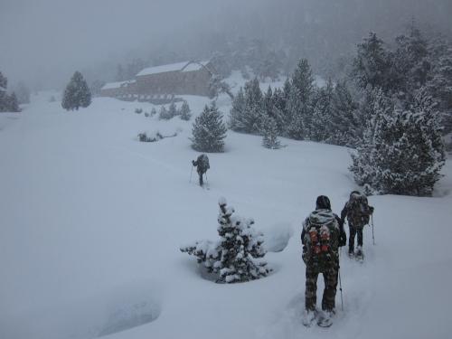 Arrivée au refuge Wallon vallée du Marcadau à 1865 m - 18-01-2014 (14h30).JPG