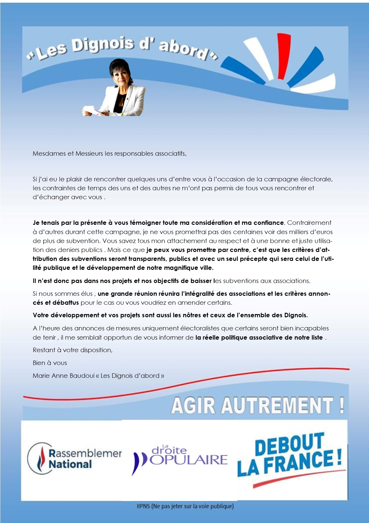 Courrier aux associations