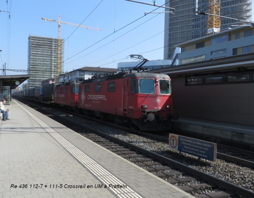Re 436 112-7 + 111-5 Crossrail en UM à Pratteln 23.03.jpg
