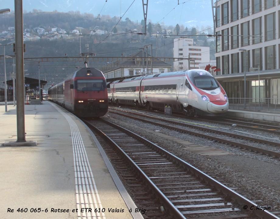 09-Re 460 065-6 Rotsee et ETR 610 Valais  à Brig 26.02..jpg