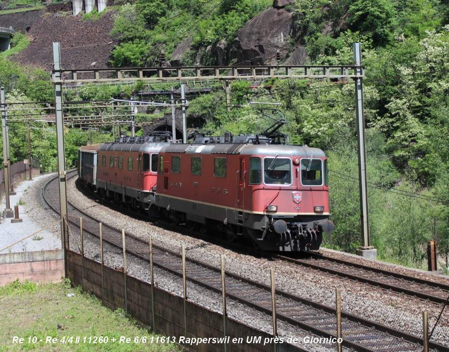Re 10 - Re 44 II 11260 + 11613 Rapperswil en UM à Giornico ..jpg