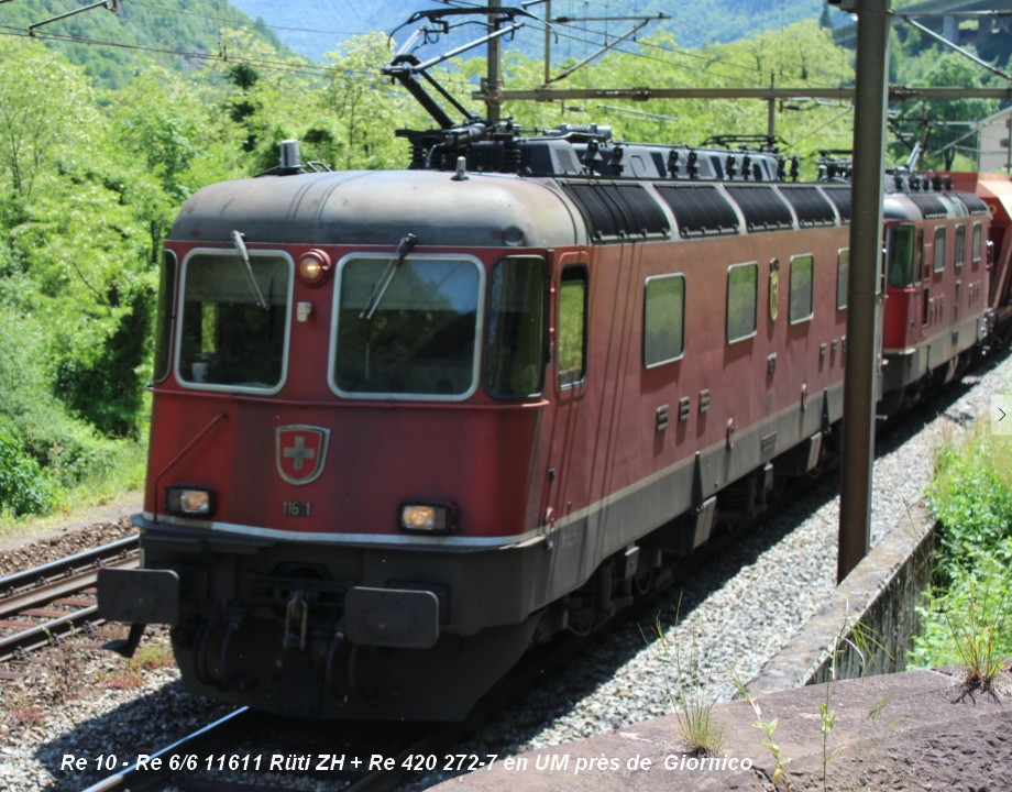 Re 10 - Re 66 11611 Rüti ZH + Re 420 272-7 en UM près de  Giornico ..jpg