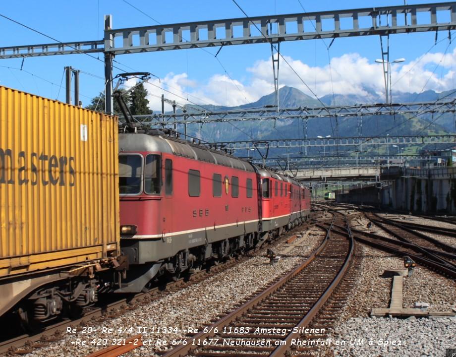 27 Re 20- Re 44 II 11334 +Re 66 11683 Amsteg-Silenen +Re 420 321-2 et Re 66 11677 Neuhausen am Rheinfall en UM à Spiez .jpg