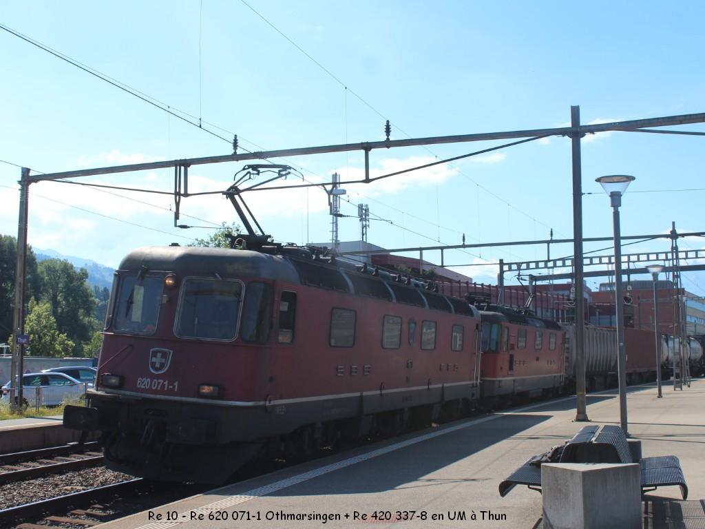 Re 10 - Re 620 071-1 Othmarsingen + Re 420 337-8 en UM à Thun 27.06.jpg
