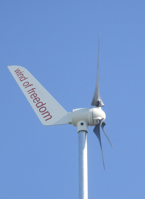 eolienne avec inscription -wind of freedom-