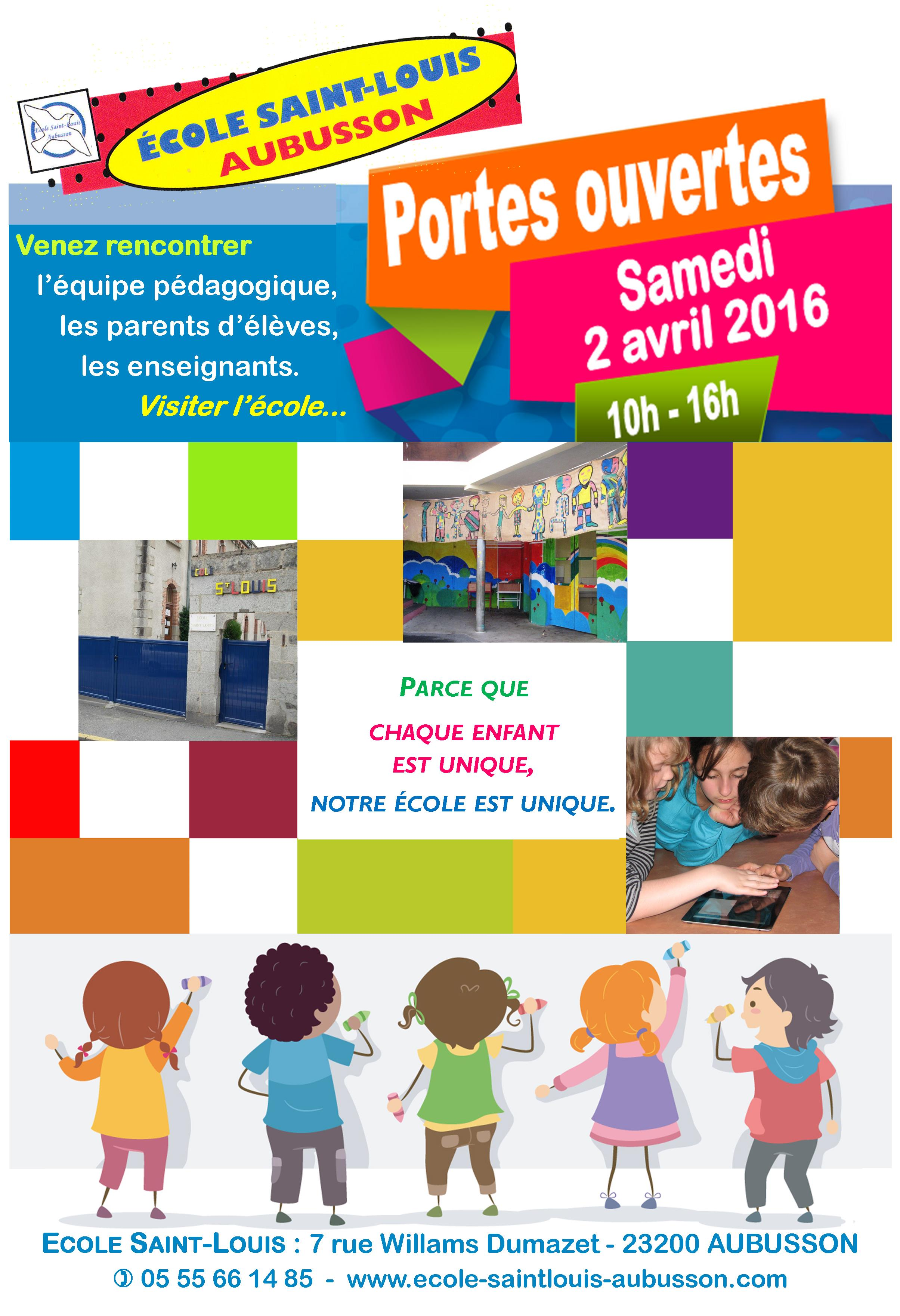 Journ e portes ouvertes de l 39 cole saint louis samedi 2 avril 2016 ecole saint louis aubusson - Portes ouvertes saint louis ...