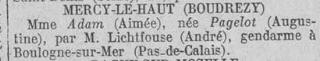avis recherche Aimée X Bulletin 12 nov 1916.png