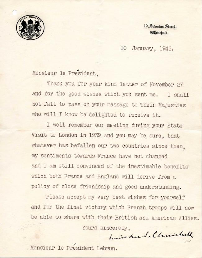 Lettre Winston Churchill 10 janvier 1945.jpg