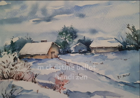 Aquarelle 19 village ss la neige modif2.jpg