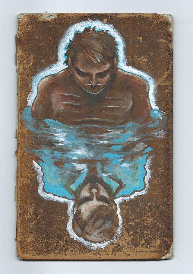 Peinture de Tthomas Duranteau Narcisse reflet cuir.jpg