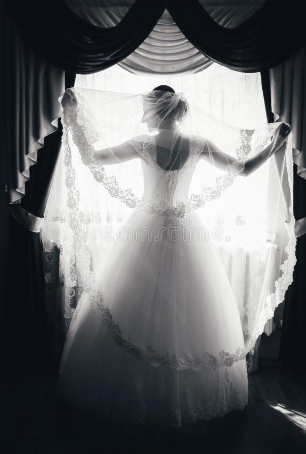 la-silhouette-d-une-jeune-mariée-se-tient-à-la-fenêtre-et-tient-un-voile-portrait-noir-et-blanc-d-une-jeune-mariée-du-dos-81014146.jpg