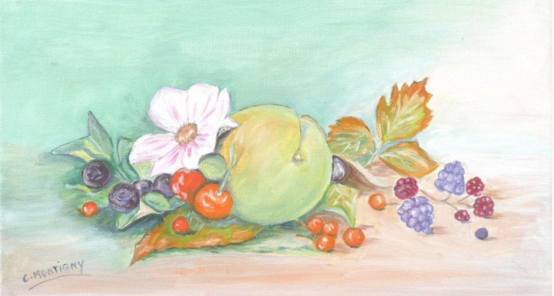 fruits et fleurs huile 19X33.JPG