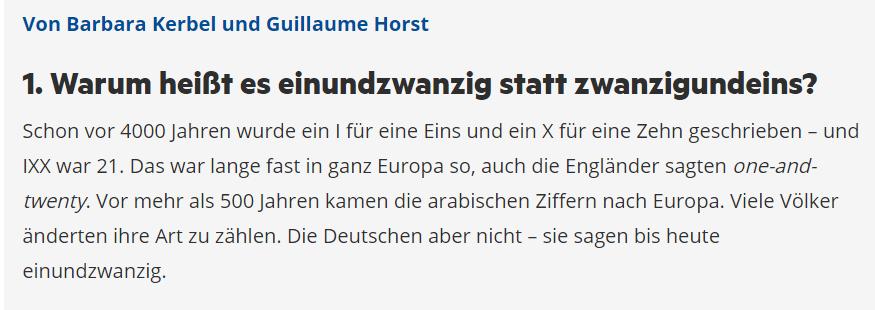 Deutsch Perfekt faux chiffres