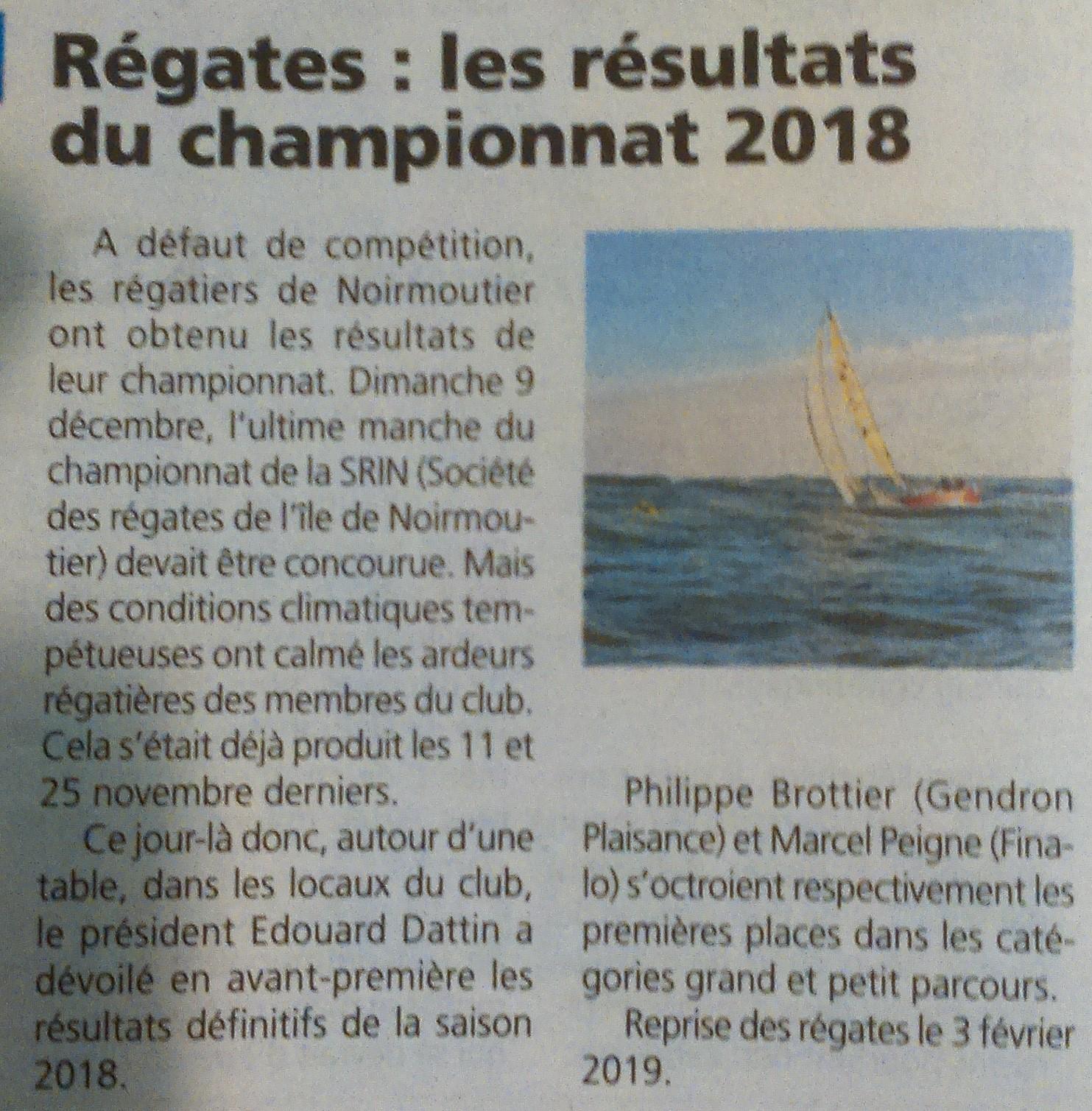 Voici un article déniché par notre lecteur assidu du Courrier Vendéen, j'ai nommé, le Maître du mouillage, le roi du classement, notre amis Daniel ! Merci Daniel.