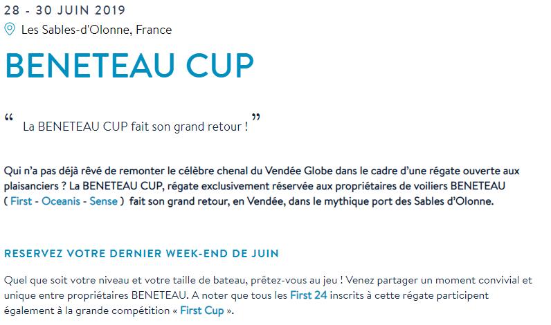 Toutes les informations sur le site https://www.beneteau.com/fr/newsroom-evenement/beneteau-cup