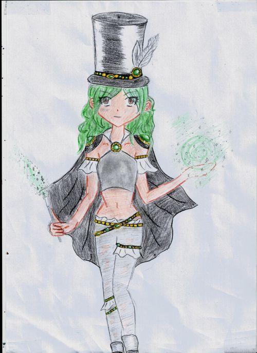 Dessin manga-La magicienne