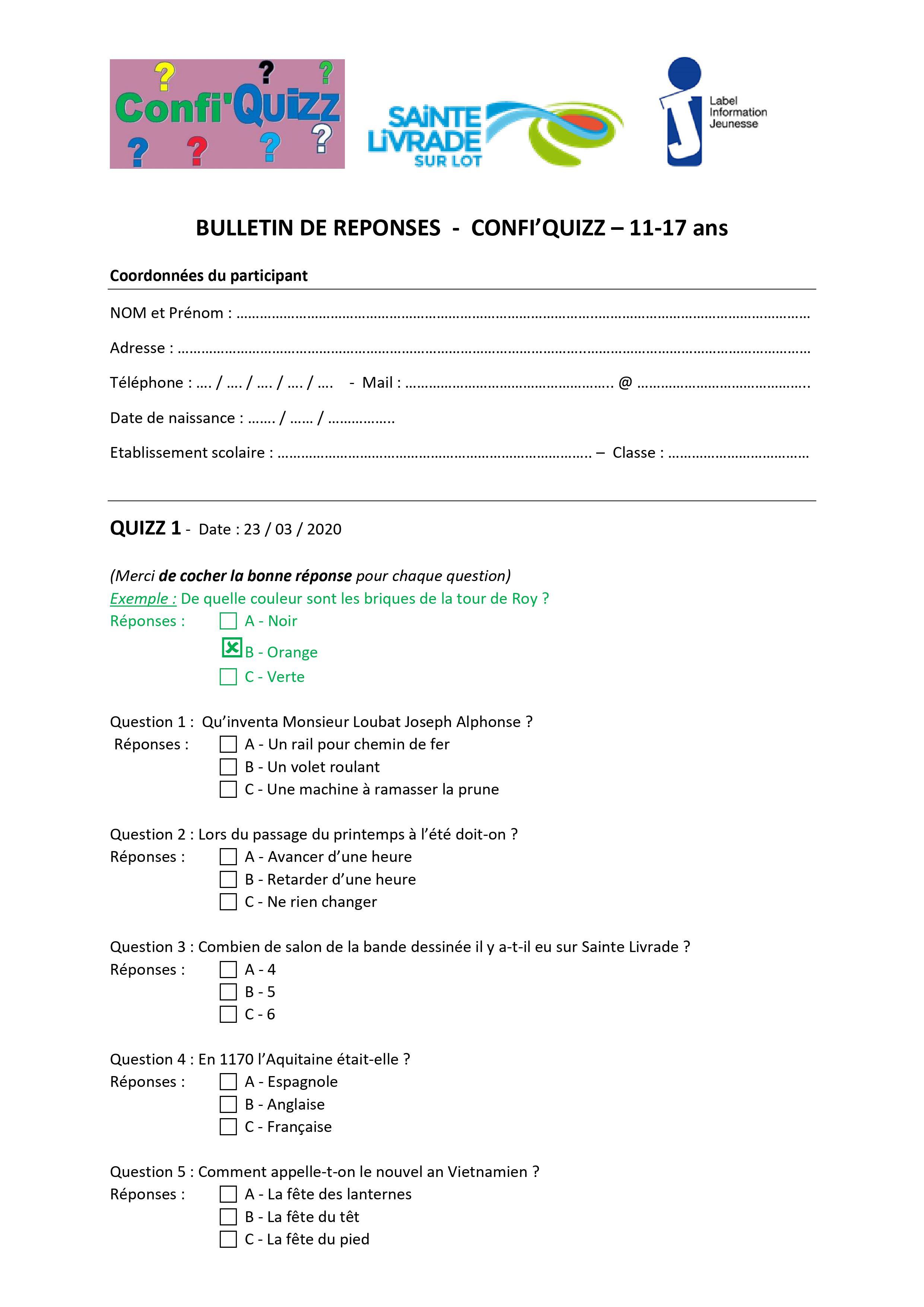 Bulletin réponses QUIZZ 1 - 1117