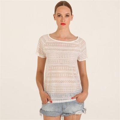 T-shirt motifs ajourés blanc