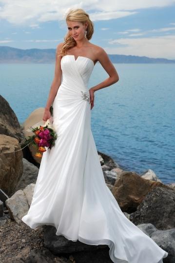 Robe de mariée plage bustier ruchée en mousseline de soie à A-ligne