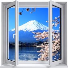 Sticker trompe l'oeil ont Fuji