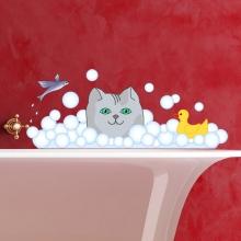 Sticker Chat dans le bain