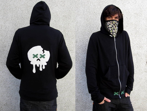 Men's Melting Skull Zip-Up Hoodie Sweatshirt in Bamboo French Terry :Made to Order Eco Friendly Sz. Sm Med Lg Xl
