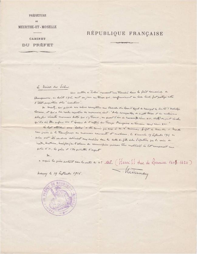 1915 Document HA piece argent Henri II de Lorraine.jpg