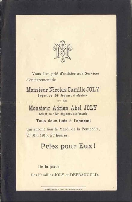 1915-05 Joly Faire part mort deux frèresImage1.jpg