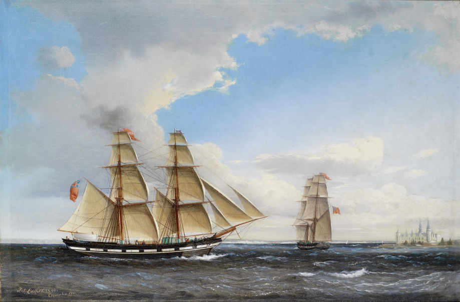 Jens_Thielsen_Locher_-_An_English_brig_off_Elsinore_(1861)
