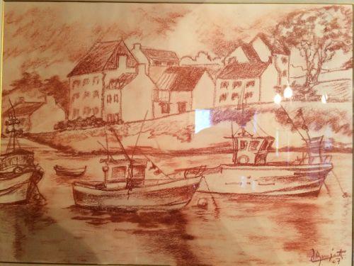 le port de Doëlan (sanguine)
